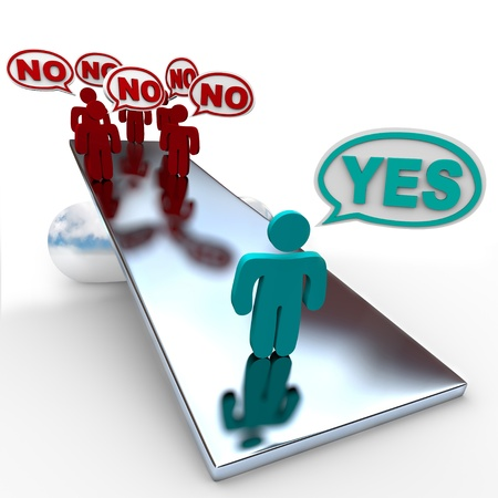 outweighing: One person saying Yes is worth more than many people saying No