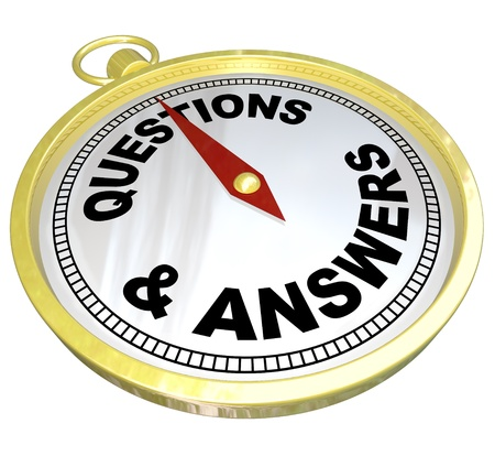 navigating: A gold compass with the words Questions and Answers representing the help, guidance and assistance you can get from customer support team or person who can offer direction