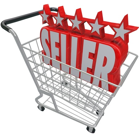 seller: Five Stars and the Word Seller in a shopping cart symbolizing a top rated or reviewed online merchant or retailer offering products and merchandise for sale on the internet