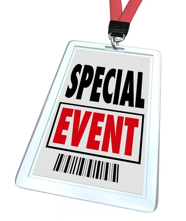 A badge and lanyard with printed pass reading Special Event to advertise or market a convention, conference, meeting, exhibition, expo or exposition Stock Photo