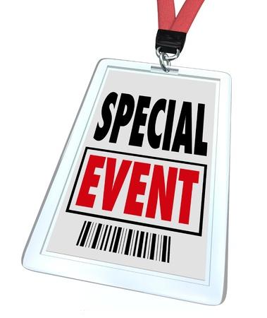 an exposition: Un distintivo e cordino con stampato passo leggendo Evento speciale per pubblicizzare o commercializzare una convention, congressi, meeting, mostre, expo o esposizione