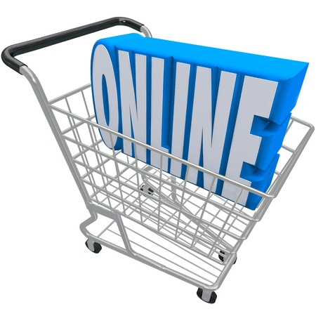 product cart: A shopping cart or basket with the word Online inside it to represent e-commerce, internet purchasing, or a web based store for ordering products and merchandise Stock Photo