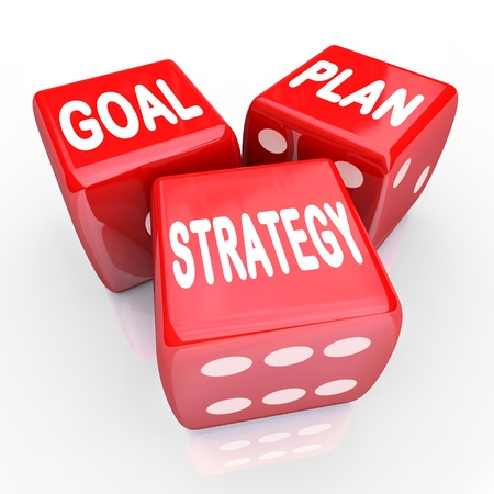 The words Plan, Goal and Strategy on three red dice, symbolizing taking a gamble on improving your fortunes with planning and strategizing for success Stock Photo - 17674237