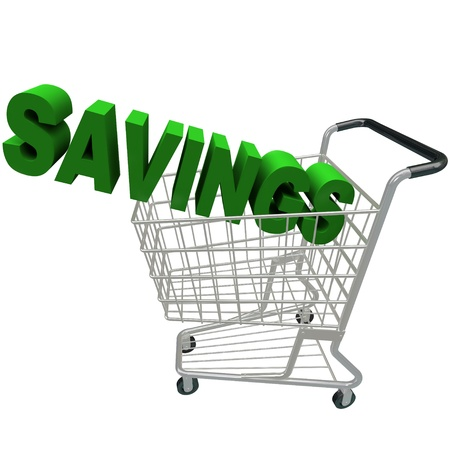 The word Savings in a metal shopping cart Stock Photo - 17674239
