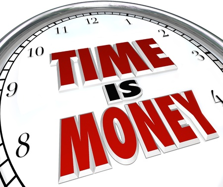 The saying or quote Time is Money on a white clock to symbolize the value and fleeting nature of time Stock Photo - 17674291