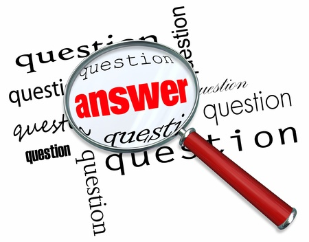 asking question: A magnifying glass hovering over many questions to find the answer