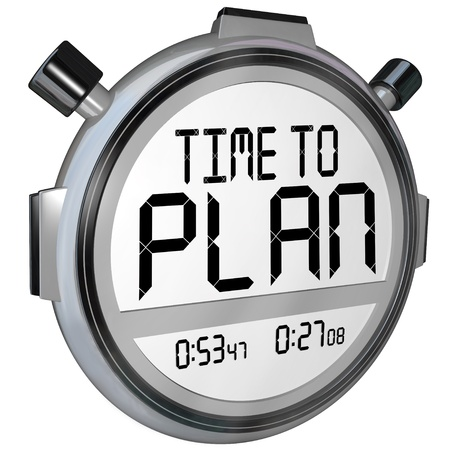 plotting: The words Time to Plan on a stopwatch or timer in digital letters telling you now is the time to do planning and strategize to achieve a goal and success