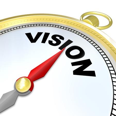 Die Nadel auf einem goldenen Kompass zeigt auf das Wort Vision geben Ihnen klare Richtung, Strategie, Führung, und einen Plan für den zukünftigen Erfolg Standard-Bild - 17674380