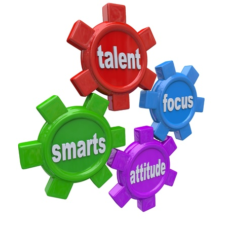 synergies: Traits of a successful person written on colorful gears - smarts, talent, focus and attitude