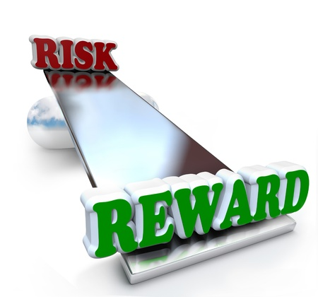 The words Risk and Reward on a see-saw balance board, weighing the differences of positive and negative qualities to make a decision Stock Photo - 17800967