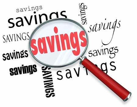 instances: A magnifying glass hovering over several instances of the word Savings, a symbolic representation of the search for the best deal and saving money when purchasing something