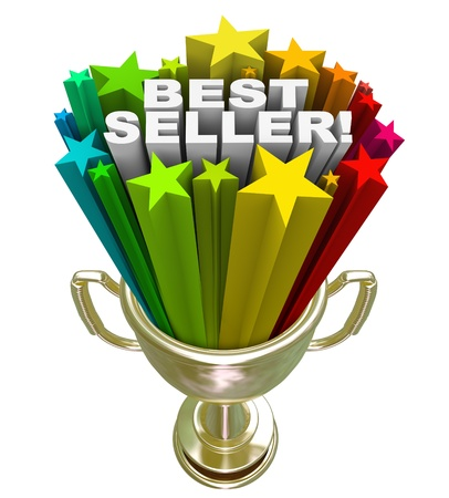 bestseller: The words Best Seller in a burst of colorful stars in a golden trophy to symbolize the top selling product or item in a store or an award for the top salesperson