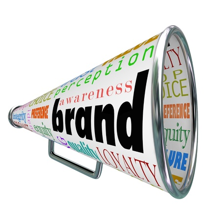 brand identity: A bullhorn or Megaphone trumpeting a products or comapnys brand to build reputation, identity, credibility and other branding elements
