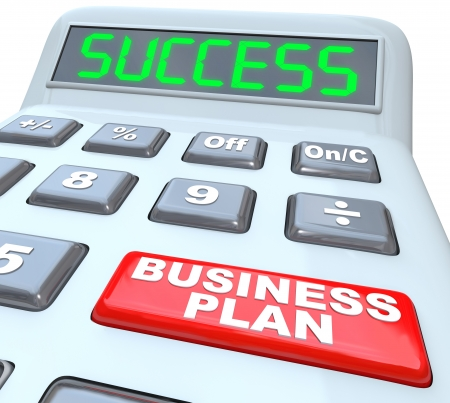 The words Business Plan on a red button of a calculator with the word Success on its digital display to illustrate the importance of having a vision for your company or organization to succeed Stock Photo - 17801013