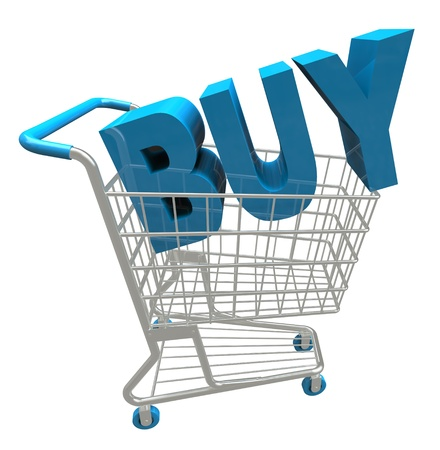 The word Buy in a shopping cart Stock Photo - 17800990