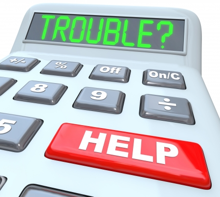 Having financial trouble?  Press the help button on this calculator for finance budget aid or assistance with your money problem. Stock Photo - 17801012