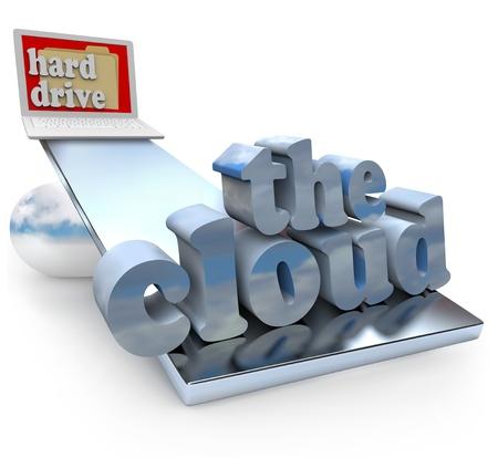 disco duro: El concepto de la nube se compara con los beneficios del almacenamiento de archivos en un disco duro del ordenador, con un ordenador portátil en una escala y las palabras para la computación en nube que prevalezca sobre los aspectos positivos del ahorro local, documento, música, películas y fotos