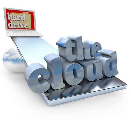 The concept of The Cloud is compared to the benefits of file storage on a computer hard drive, with a laptop on a scale and the words for cloud computing outweighing the pluses of local document, music, movie and photo saving photo