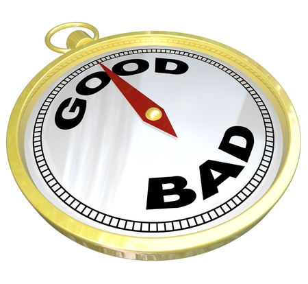positives: A gold compass with the words Good and Bad with needle pointing to Good, meaning that positive qualities outweigh negative characteristics in the quest for success