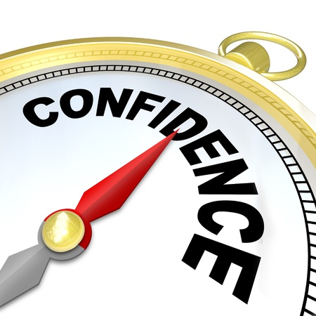A compass with the word Confidence leads you to success by finding your inner strength needed to direct you to reaching your goals in life Stock Photo - 17800991