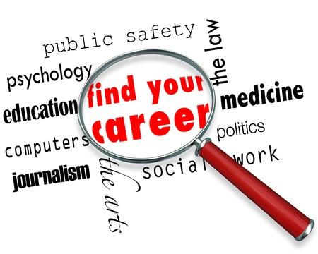 났습니다: 단어를 중심으로 여러 직업 분야에 가져 가면 돋보기, 경력 찾기