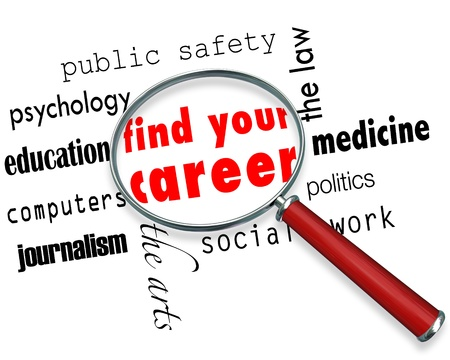 A magnifying glass hovering over several career fields, centering on the words Find Your Career photo