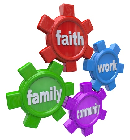 volunteerism: The gears of life marked Faith Family Work and Community turn in harmony