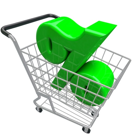 lowest: A green percent or percentage symbol in a shopping cart to represent comparison hunting for the best or lowest interest rate or inflation affecting prices for products you want to buy Stock Photo