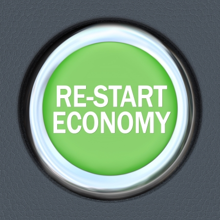 A green car ignition button with the words Re-Start Economy on it Stock Photo - 17801015