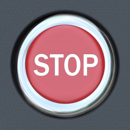 A red car ignition button with the word Stop to symbolize danger or emergency and the immediate need to turn off the engine photo