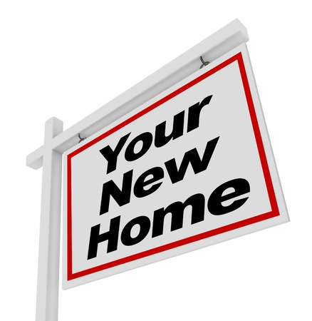 relocate: The words Your New Home on a house for sale real estate sign Stock Photo