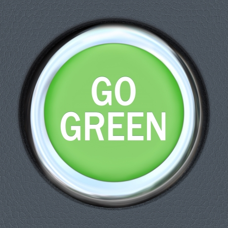 A green car ignition button with the words Re-Start Economy on it photo