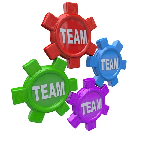 synergies: Four gears turning together in unison, representing working together or collaborative toward a common goal Stock Photo