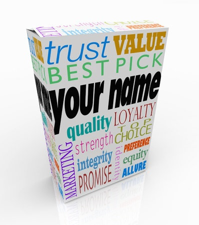 brand name: Your Name on a product box alongside words such as trust, value, best pick, quality, loyalty, top choice, strength, integrity, brand identiy and allure to put you ahead of your competition