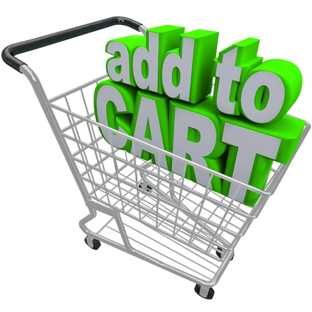 ordering: The words Add to Cart in a shopping basket to symbolize ecommerce and browsing or buying from an online store or shop Stock Photo