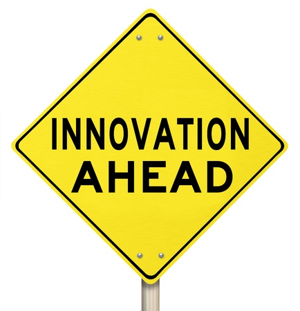 warns: A yellow diamond-shaped road sign informs that Innovation is Ahead, symbolizing growth and change in the future