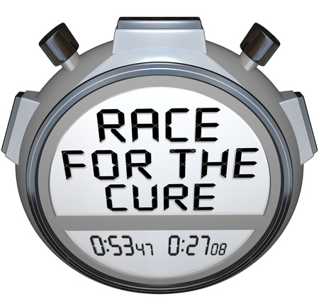 cure: The words Race for the Cure on a stopwatch timer clock to represent a fundraiser or charity run or event Stock Photo