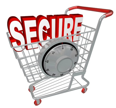 A shopping cart with the word Secure inside it and a combination lock symbolizing the protection provided by a website with security measures enacted Stock Photo - 17944245