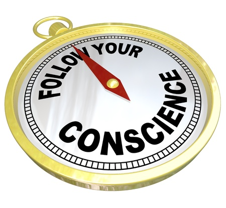 conscience: The words Follow Your Conscience on a golden compass to help you see the difference between right vs wrong Stock Photo