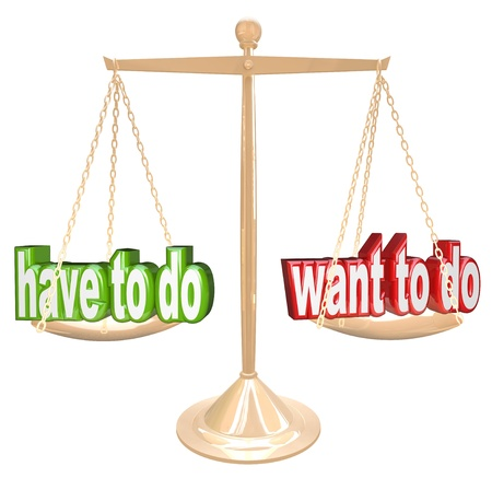 deciding: Weighing the priorities of life, Want to Do vs Need to Do choices of obligations versus desires
