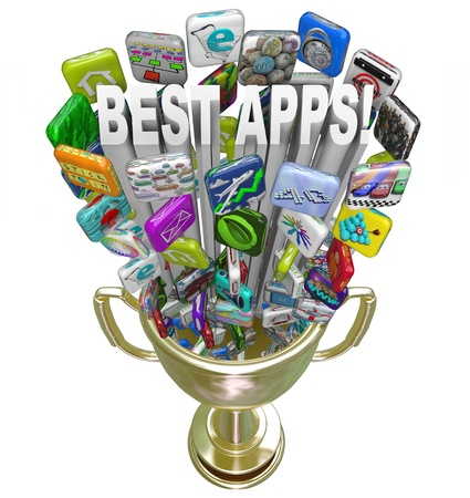 good better best: A golden first place trophy with the words Best Apps and many application app tile icons shooting out of it Stock Photo