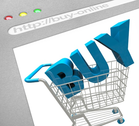 A web browser window shows the words Buy in a Shopping Cart, symbolizing the e-commerce solutions of online retailers and buying items on the web photo