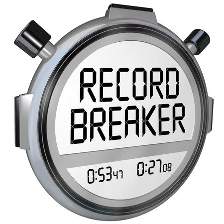 A stopwatch or timer clock with words Record Breaker to illustrate a new personal best or winning time Imagens