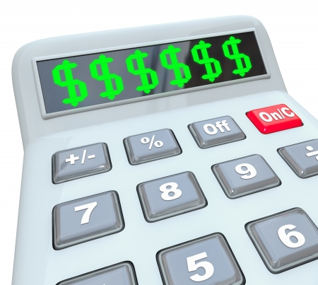 dollar signs: Several dollar signs on a calculator display as you add up your costs, expenses, income, savings, budget, bills, pay, or other financial measurement