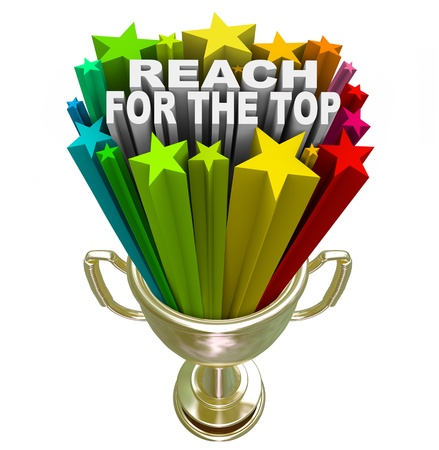 Reach for the Top words in fireworks and colorful stars shooting out of a gold trophy symbolizing winning a competition or game, or achieving personal success or a goal Stock Photo - 17944301