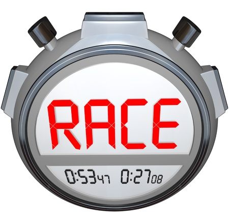 race for time: A stopwatch records the time for a racing sport event, with the word Race on the digital display in large letters, with buttons on the side for starting and stoping the watch Stock Photo