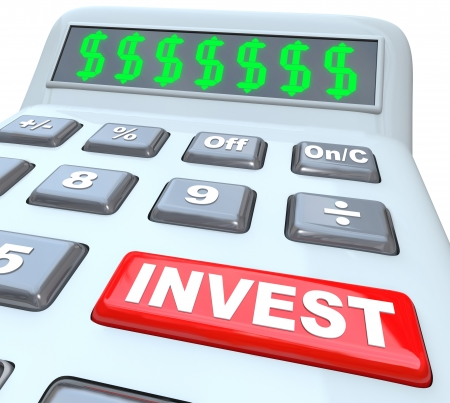 figuring: Several dollar signs on a calculator digital display, symbolizing the growing of wealth, and a red button with the word Invest