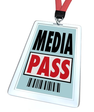 A badge and lanyard reading Media Pass to give a journalist or reporter special clearance to interview a public or famous person or to get exclusive access at a restricted event