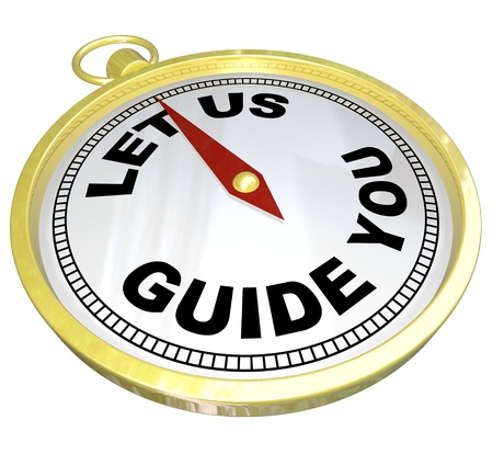 A gold compass with the words Let Us Guide You representing the offering of help, advice, customer service, moral support or general assistance to someone in need Stock Photo - 17944323