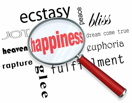 feelings of happiness: A magnifying glass hovering over several words like joy and ecstasy, at the center of which is Happiness